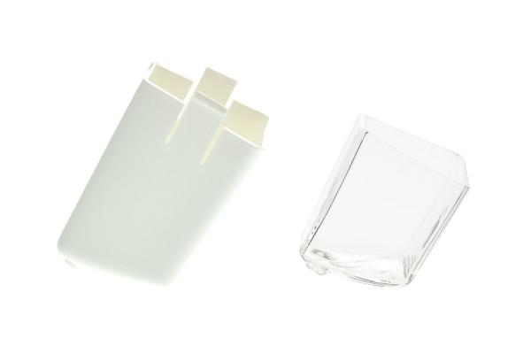 Aktivkohlefiltergehäuse mit Glasinlet für das Megahome Destilliergerät weiß